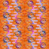 大柄(雪輪に菊梅鷺草・エ霞に雲錦)七宝小紋地柄/橙/B