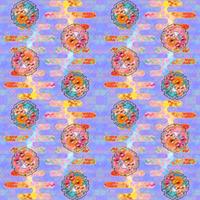 大柄(雪輪に菊梅鷺草・エ霞に雲錦)七宝小紋地柄/薄紫/A