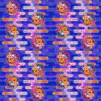大柄(雪輪に菊梅鷺草・エ霞に雲錦)七宝小紋地柄/藍/B