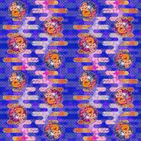 大柄(雪輪に菊梅鷺草・エ霞に雲錦)七宝小紋地柄/藍/A