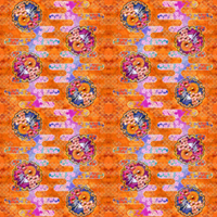 大柄(雪輪に菊梅鷺草・エ霞に雲錦)七宝小紋地柄/橙/A